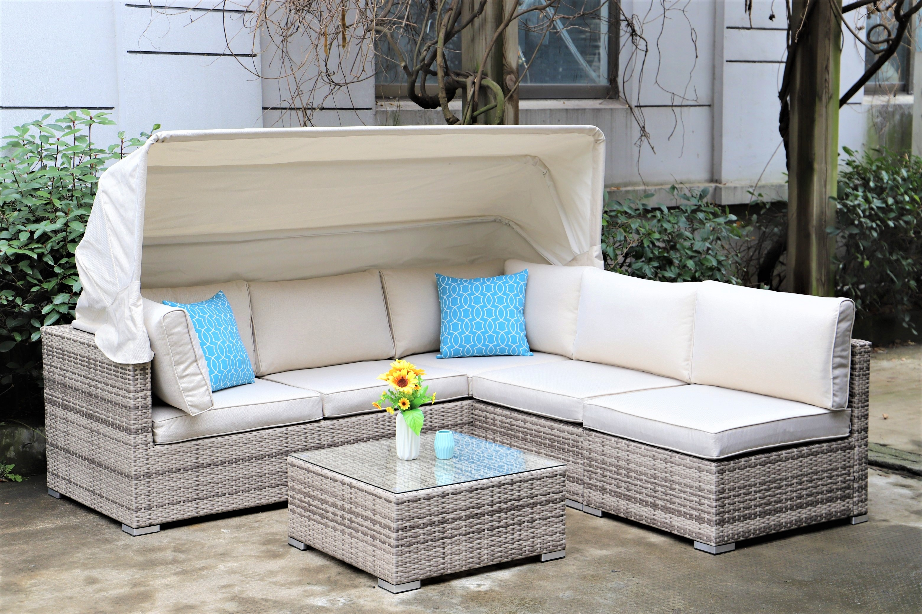 Champagne Corsair Canopy Sofa Set with Coffee Table