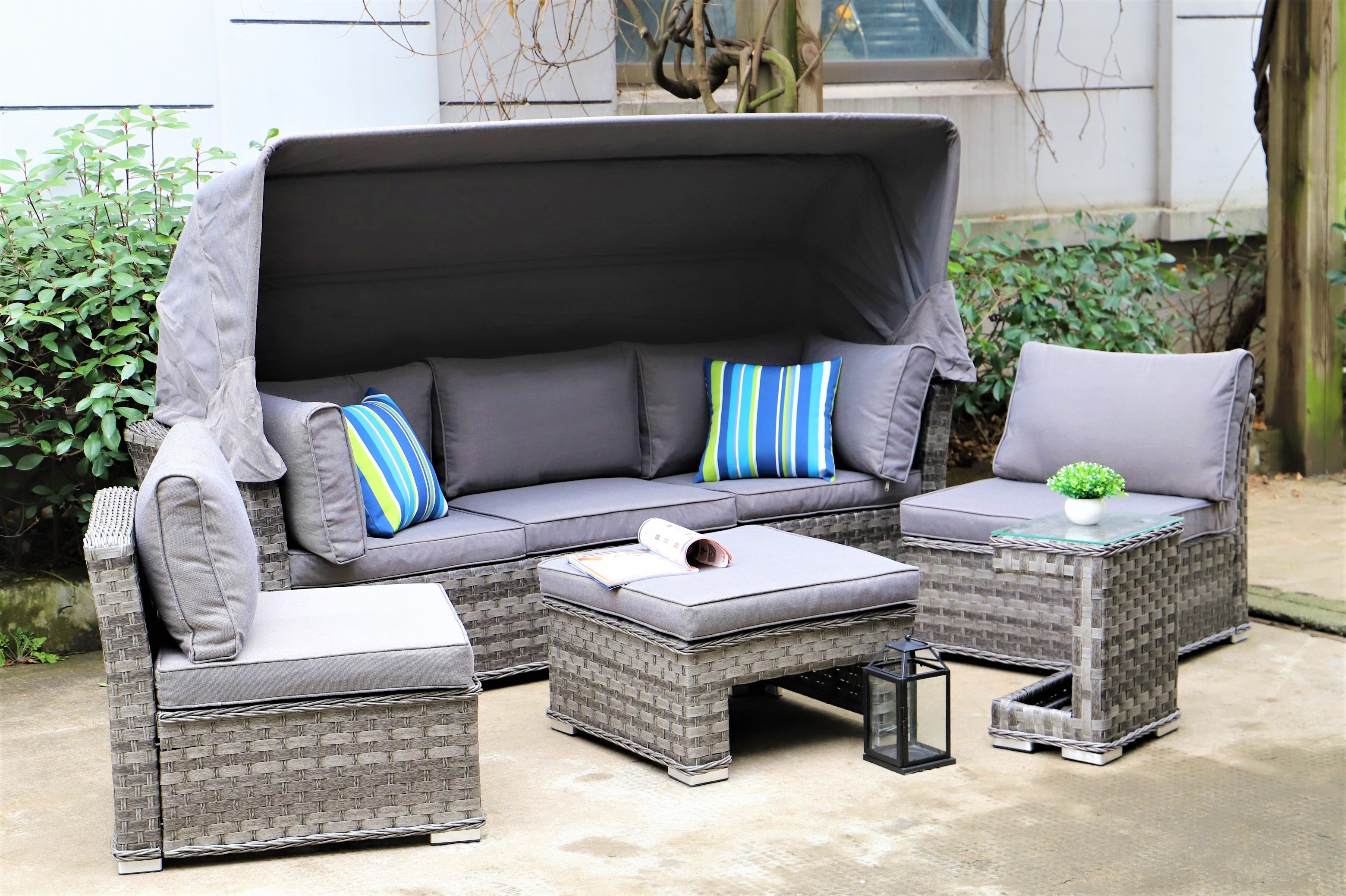 Serena Sapphire Canopy Sofa Set with Footstool and Side Table