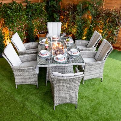 Enjoy Outdoor Party With Fire Pit Dining Set