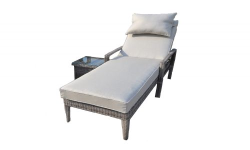 Champagne Sun Lounger with Side Table
