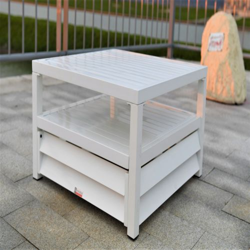 Shutter Style White Aluminium Square Coffee Table