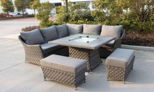 Serena Coral Corner Dining Fire Pit Set with Bench Stools
