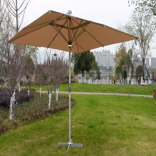 The Ultra 4m x 4m Square LED Fully Remote Parasol in Cream