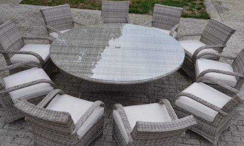 Champagne 10 Seat Round Tokyo Dining Set in Silver Grey Rattan