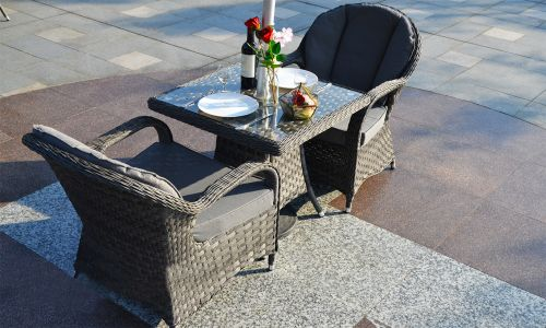 Serena Regal Square Bistro Set in Grey Rattan