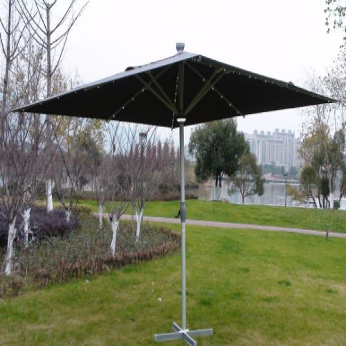 The Ultra 4m x 4m Square LED Fully Remote Parasol in Grey