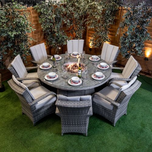 Champagne Tokyo 8 Seat Fire Pit With 165cm Round Table