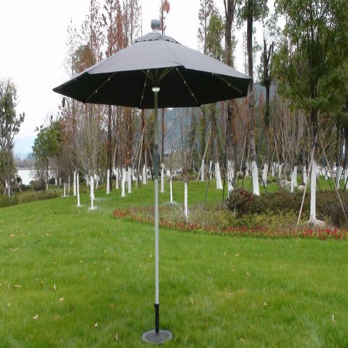 LED 3m Round Remote Controlled Parasol in Grey