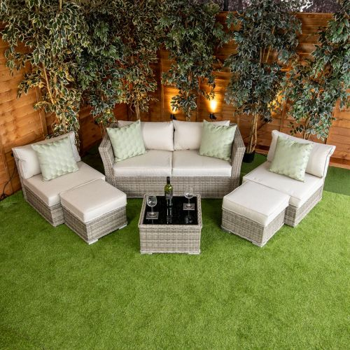 Champagne Cannes 6 Seat 6 Piece Sofa Set