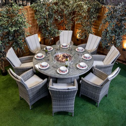 Champagne Atlanta 8 Seat Fire Pit With 165cm Round Table