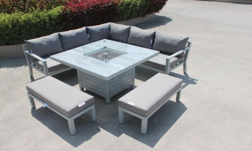 Aluminium Corner Dining set with Fire Pit