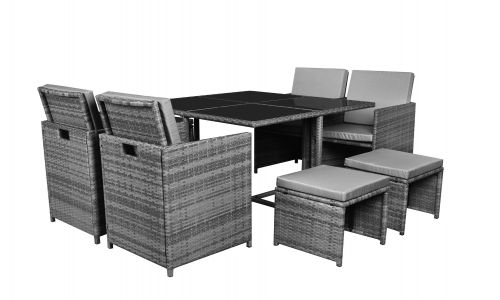 Grey Flat Packed 4 Seat Cube With 4 Stools