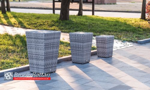 Champagne 3 Piece Planter Set in Mixed Grey Rattan