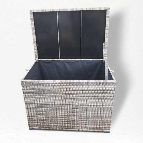 Champagne Large Storage Box in Mixed Grey Rattan