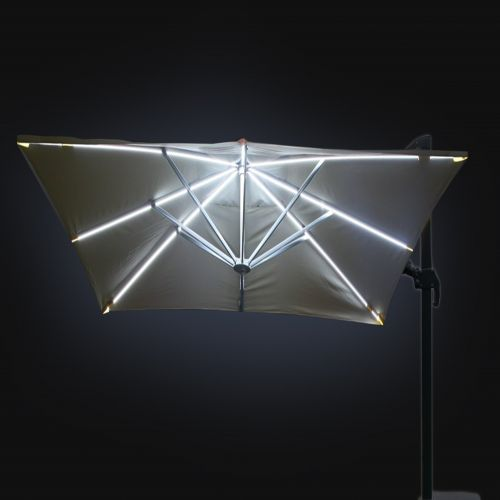 Deluxe Roma Strip LED 3m Square Cantilever Parasol in Grey