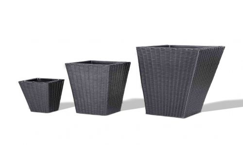 Onyx 3 Piece Set of Rattan Planters in Black