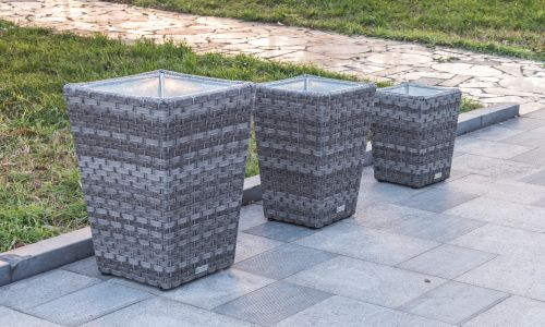 3 Piece Set Planter in Grey Rattan