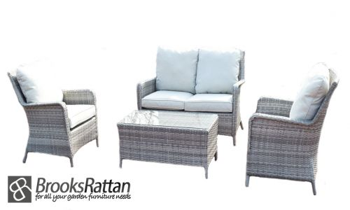 Champagne 4 Seat 4 Piece High Back Sofa Set