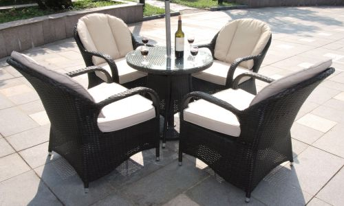 Brown Rattan Regal 4 Seater Round Mini Dining Set