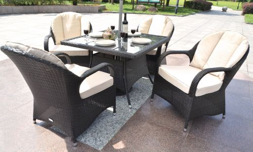 Brown Regal 4 Seater 100cm Square Dining Set