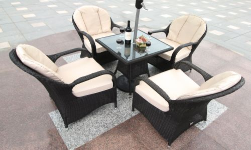 Brown Regal 4 Seater 70cm Mini Square Dining Set