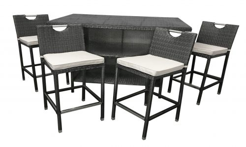 Flores 4 Seat Bar Set in Brown Rattan