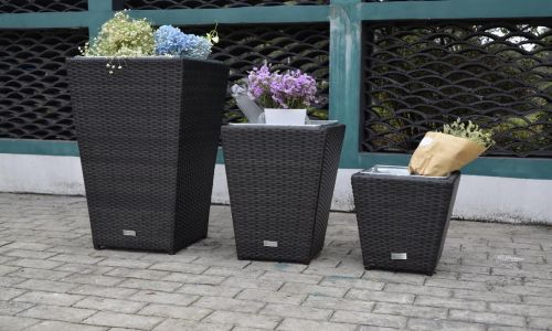 Brown Rattan 3 Piece Set Planter
