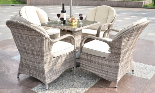 Champagne Regal 4 Seat Square Mini Dining Set in Mixed Grey Rattan