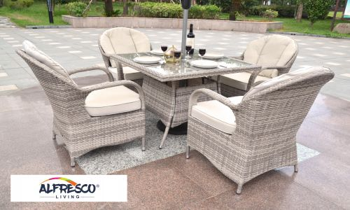 Champagne Regal 4 Seater 100cm Square Dining Set in Mixed Grey Rattan