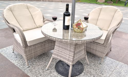 Champagne Regal Round Bistro Set in Mixed Grey Rattan