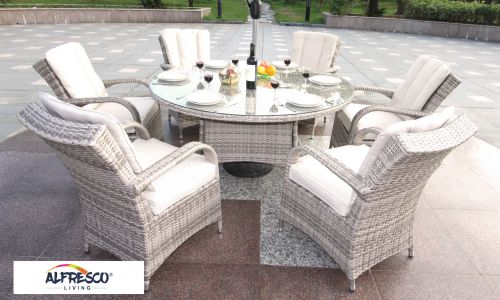 Champagne Tokyo 6 Seat 150cm Round Dining Set in Mixed Grey Rattan