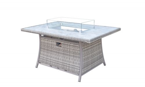 Champagne 6 Seat Rectangular Gas Fire Pit Dining Table