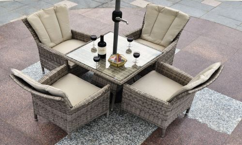 Champagne Atlanta 4 Seater 70cm Mini Square Dining Set in Mixed Grey Rattan