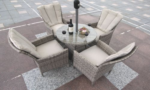 Champagne Atlanta 4 Seater 70cm Mini Round Dining Set in Mixed Grey Rattan