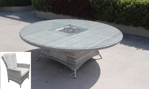 Champagne Atlanta 6 Chairs and 150cm Round Fire Pit Dining Table