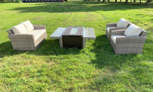 Champagne Madrid 4 Seat Sofa Set with Fire Pit Coffee Table