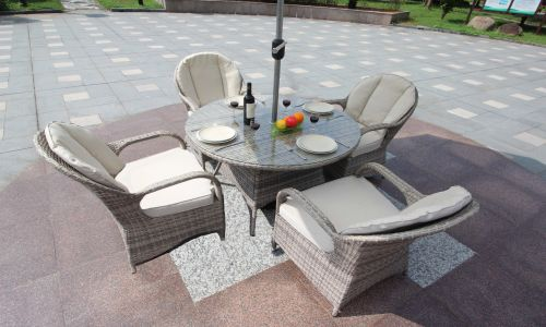 Champagne Regal 4 Seater 120cm Round Dining Set