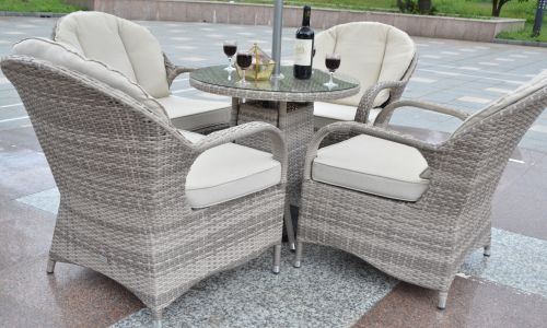 Champagne Regal 4 Seat Round Mini Dining Set in Mixed Grey Rattan