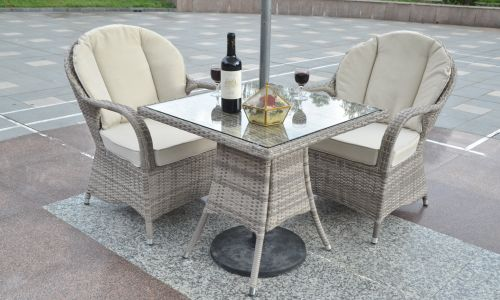 Champagne Regal Square Bistro Set in Mixed Grey Rattan