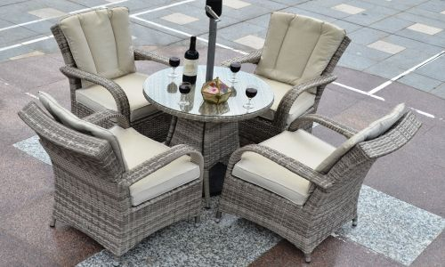 Champagne Tokyo 4 Seat 70cm Mini Round Dining Set in Mixed Grey Rattan