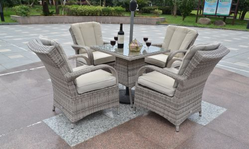 Champagne Tokyo 4 Seater 70cm Mini Square Dining Set in Mixed Grey Rattan