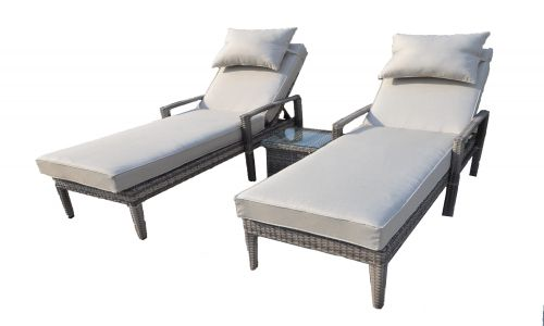 Champagne Sun Lounger Set with Side Table