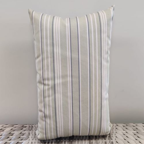 Sunbrella scatter cushions Pattern: Strips (White & Gray)