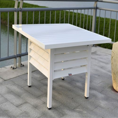 Shutter Style White Aluminium Square Dining Table