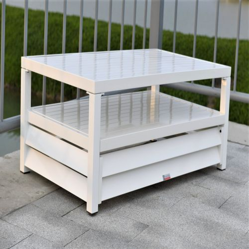 Shutter Style White Aluminium Rectangle Coffee Table