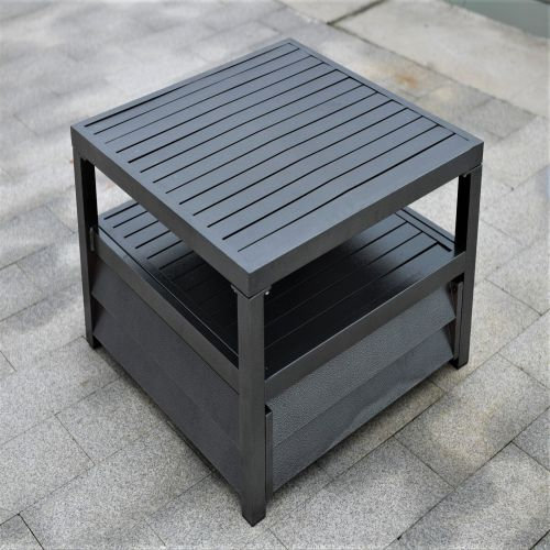 Shutter Style Grey Aluminium Square Coffee Table