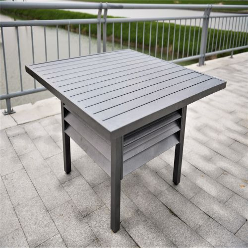 Shutter Style Grey Aluminium Square Dining Table