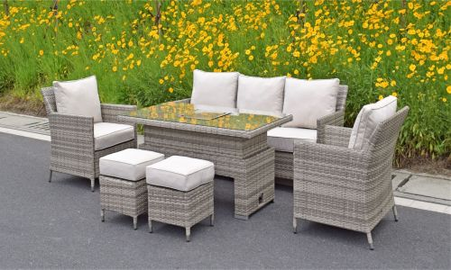 Champagne Elizebeth sofa Dining Set with Adjustable Height Table