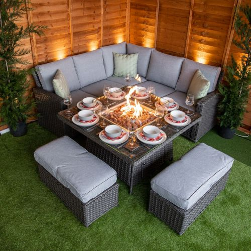 Platinum Boston Corner Dining Set with Fire Pit