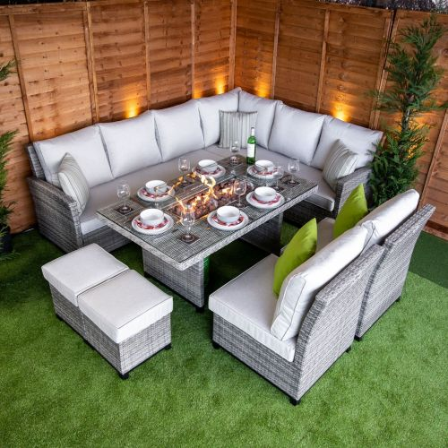 Champagne Madison Corner Dining Set with Fire Pit